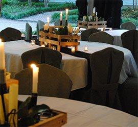Tables lit by candles